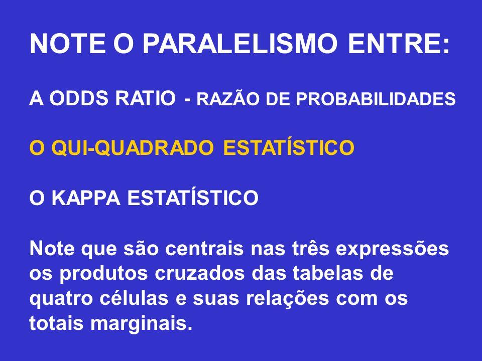 NOTE O PARALELISMO ENTRE: A ODDS RATIO - RAZÃO DE PROBABILIDADES O QUI-QUADRADO ESTATÍSTICO O KAPPA ESTATÍSTICO Note que são centrais nas três express