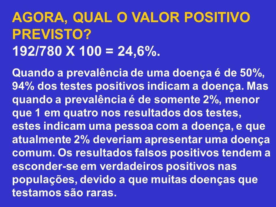 AGORA, QUAL O VALOR POSITIVO PREVISTO? 192/780 X 100 = 24,6%. Quando a prevalência de uma doença é de 50%, 94% dos testes positivos indicam a doença.