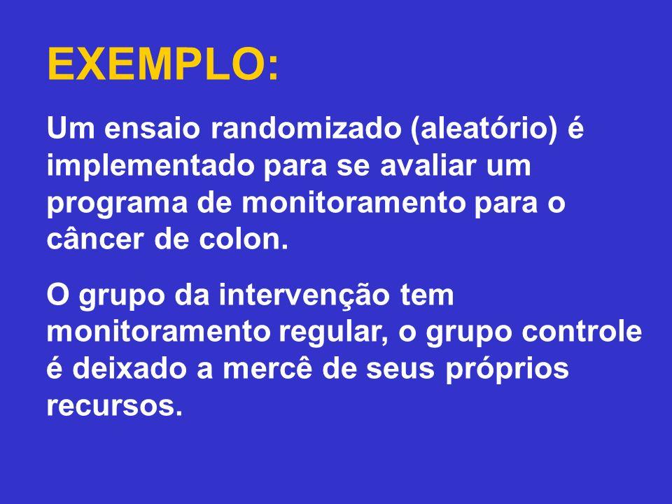 EXEMPLO: Um ensaio randomizado (aleatório) é implementado para se avaliar um programa de monitoramento para o câncer de colon. O grupo da intervenção