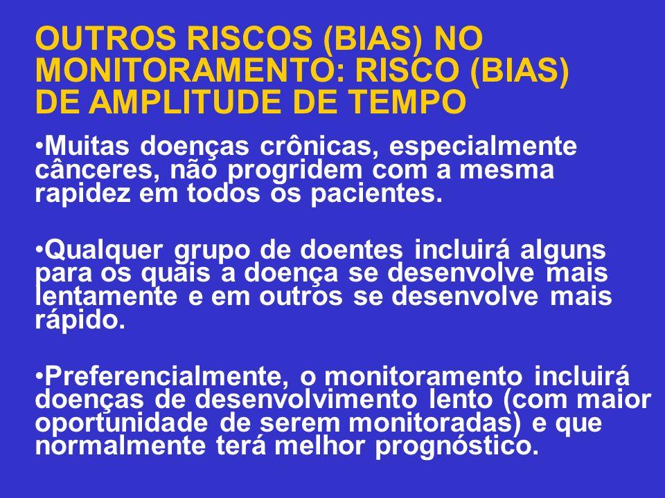 OUTROS RISCOS (BIAS) NO MONITORAMENTO: RISCO (BIAS) DE AMPLITUDE DE TEMPO Muitas doenças crônicas, especialmente cânceres, não progridem com a mesma r