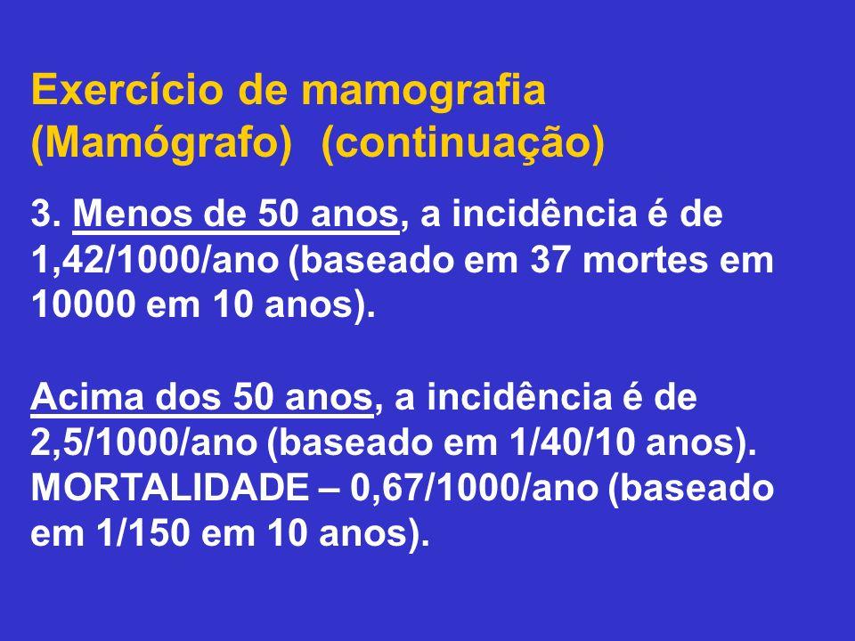 Exercício de mamografia (Mamógrafo) (continuação) 3. Menos de 50 anos, a incidência é de 1,42/1000/ano (baseado em 37 mortes em 10000 em 10 anos). Aci