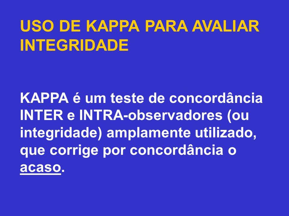 USO DE KAPPA PARA AVALIAR INTEGRIDADE KAPPA é um teste de concordância INTER e INTRA-observadores (ou integridade) amplamente utilizado, que corrige p