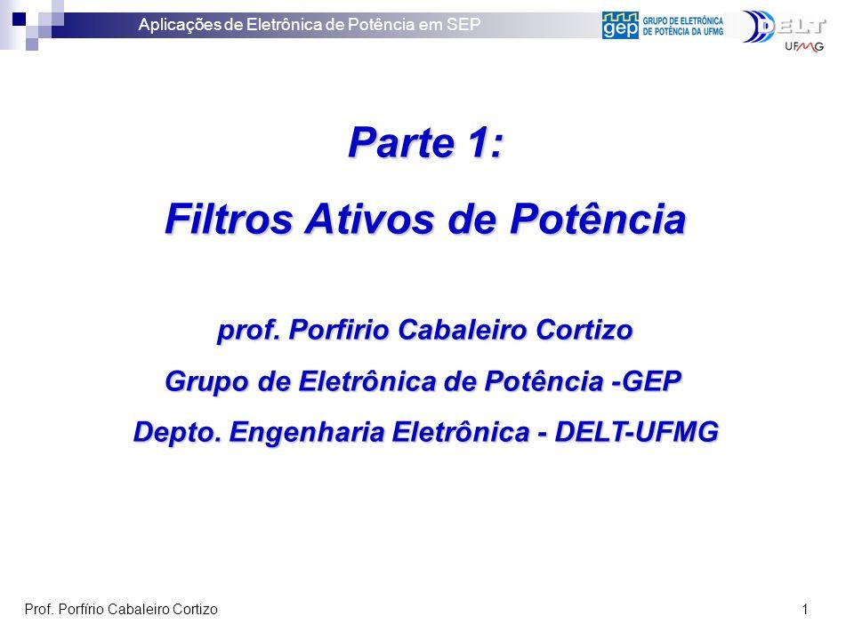 Aplicações de Eletrônica de Potência em SEP Prof. Porfírio Cabaleiro Cortizo 1 Parte 1: Filtros Ativos de Potência prof. Porfirio Cabaleiro Cortizo Gr