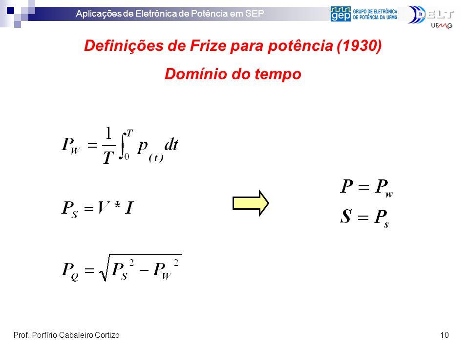Aplicações de Eletrônica de Potência em SEP Prof. Porfírio Cabaleiro Cortizo 10 Definições de Frize para potência (1930) Domínio do tempo