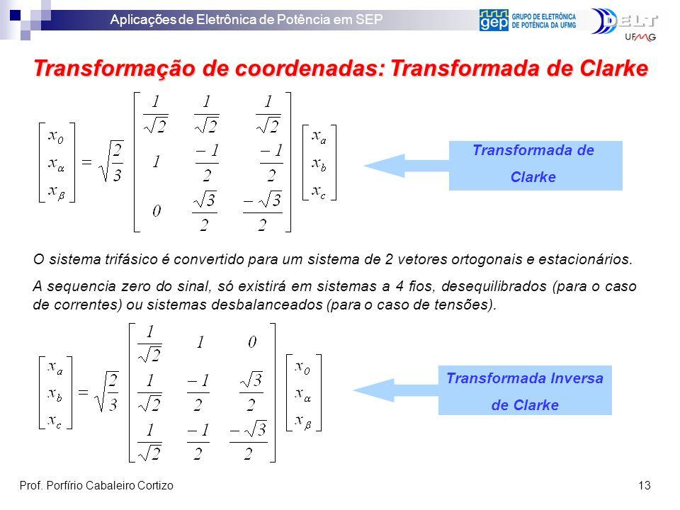 Aplicações de Eletrônica de Potência em SEP Prof. Porfírio Cabaleiro Cortizo 13 Transformação de coordenadas: Transformada de Clarke Transformada Inve
