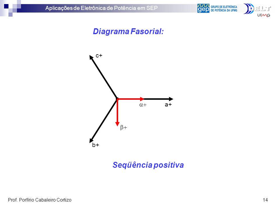Aplicações de Eletrônica de Potência em SEP Prof. Porfírio Cabaleiro Cortizo 14 Diagrama Fasorial: Seqüência positiva a+ b+ c+