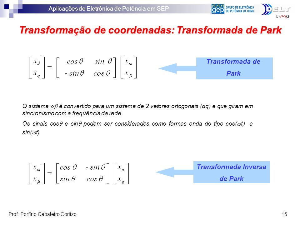 Aplicações de Eletrônica de Potência em SEP Prof. Porfírio Cabaleiro Cortizo 15 Transformação de coordenadas: Transformada de Park Transformada de Par