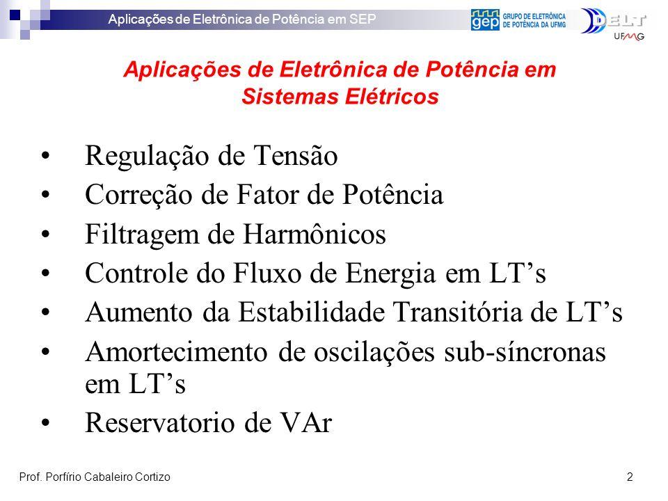 Aplicações de Eletrônica de Potência em SEP Prof. Porfírio Cabaleiro Cortizo 2 Regulação de Tensão Correção de Fator de Potência Filtragem de Harmônic