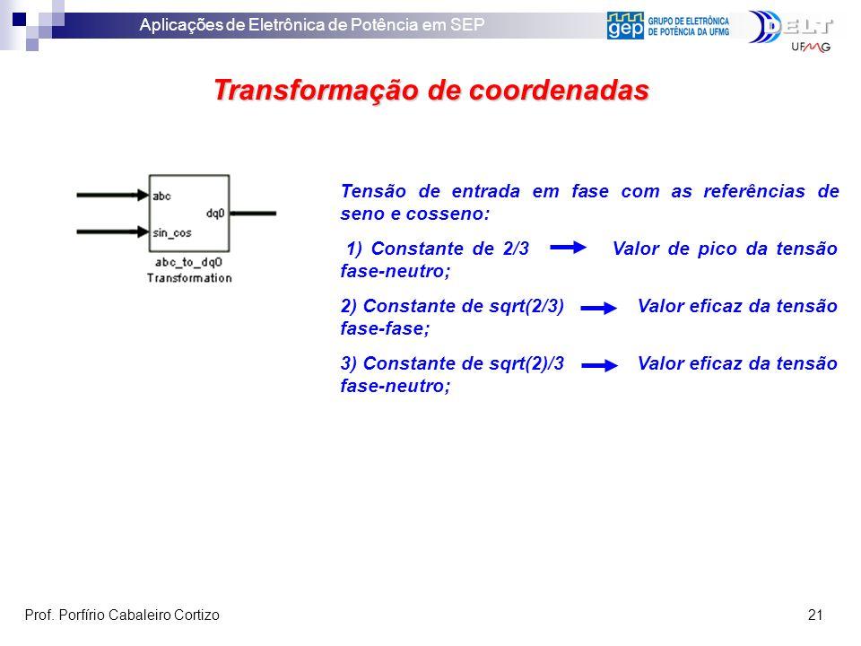 Aplicações de Eletrônica de Potência em SEP Prof. Porfírio Cabaleiro Cortizo 21 Transformação de coordenadas Tensão de entrada em fase com as referênc