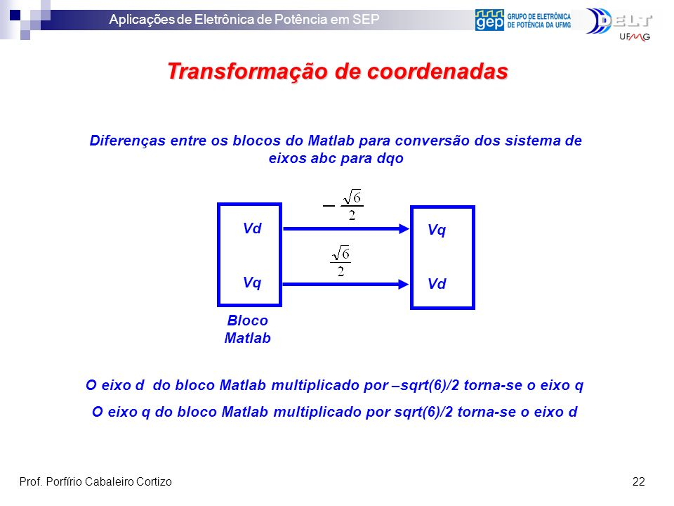 Aplicações de Eletrônica de Potência em SEP Prof. Porfírio Cabaleiro Cortizo 22 Transformação de coordenadas Diferenças entre os blocos do Matlab para