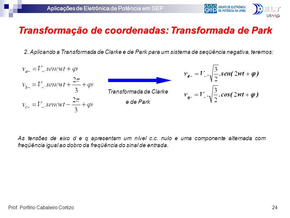 Aplicações de Eletrônica de Potência em SEP Prof. Porfírio Cabaleiro Cortizo 24 Transformação de coordenadas: Transformada de Park 2. Aplicando a Tran