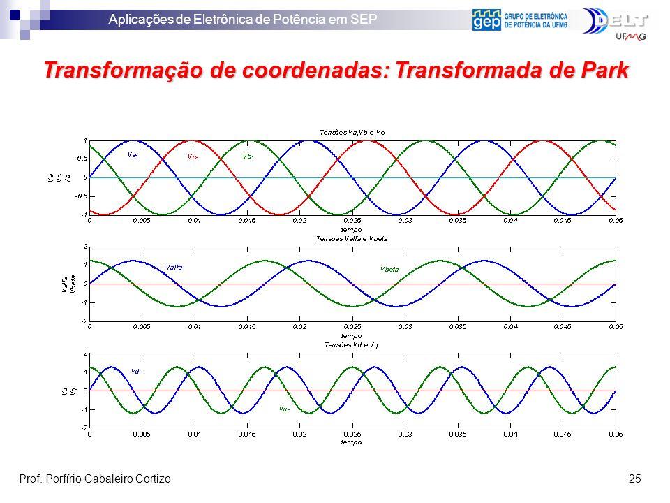 Aplicações de Eletrônica de Potência em SEP Prof. Porfírio Cabaleiro Cortizo 25 Transformação de coordenadas: Transformada de Park