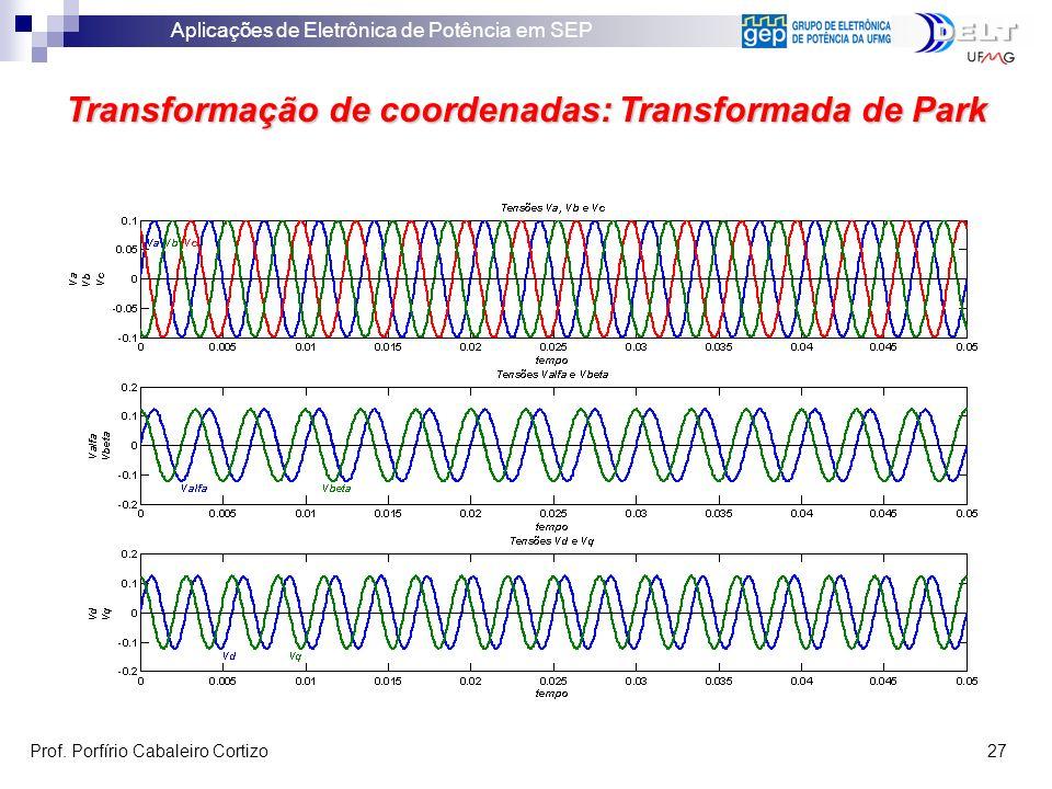 Aplicações de Eletrônica de Potência em SEP Prof. Porfírio Cabaleiro Cortizo 27 Transformação de coordenadas: Transformada de Park