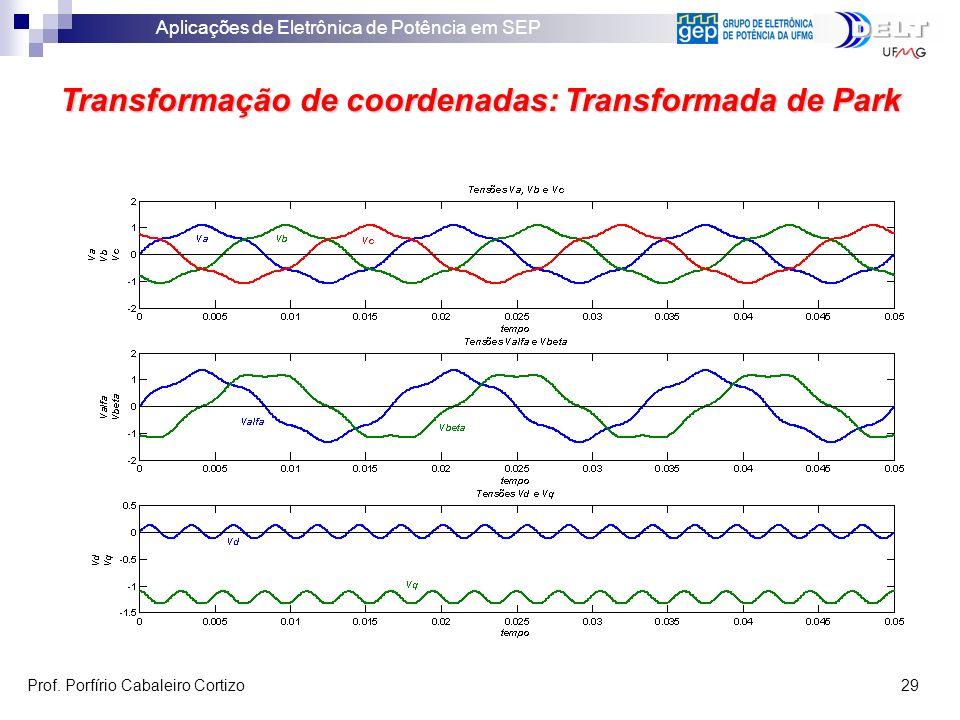 Aplicações de Eletrônica de Potência em SEP Prof. Porfírio Cabaleiro Cortizo 29 Transformação de coordenadas: Transformada de Park