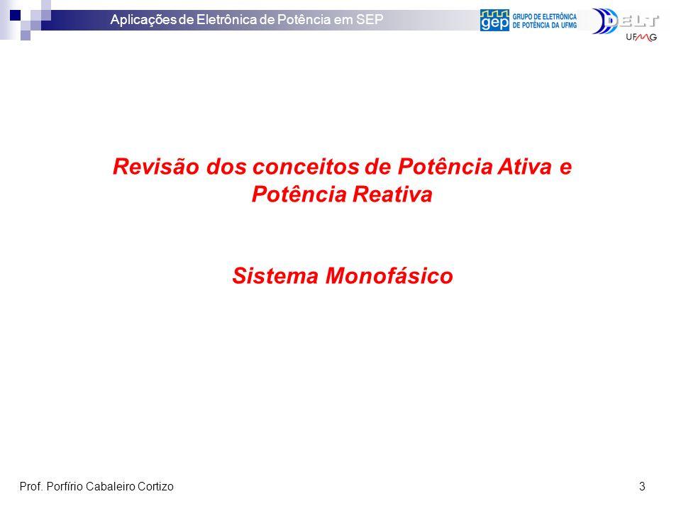 Aplicações de Eletrônica de Potência em SEP Prof. Porfírio Cabaleiro Cortizo 3 Revisão dos conceitos de Potência Ativa e Potência Reativa Sistema Mono