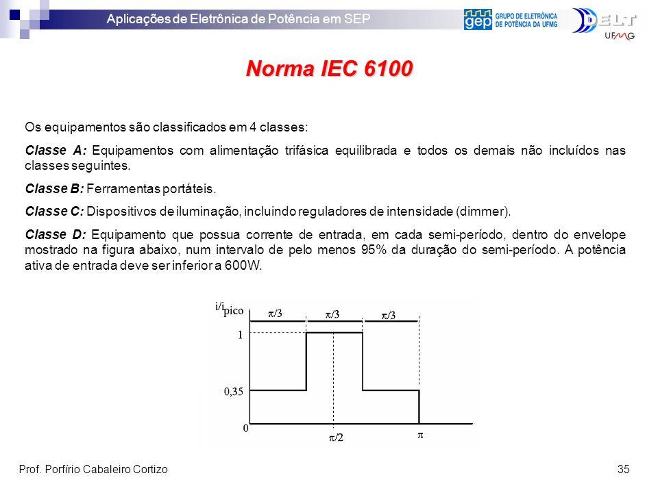 Aplicações de Eletrônica de Potência em SEP Prof. Porfírio Cabaleiro Cortizo 35 Norma IEC 6100 Os equipamentos são classificados em 4 classes: Classe