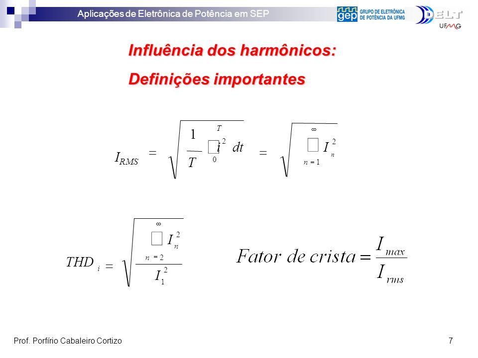 Aplicações de Eletrônica de Potência em SEP Prof. Porfírio Cabaleiro Cortizo 7 Influência dos harmônicos: Definições importantes 2 1 2 I I THD n i 2n
