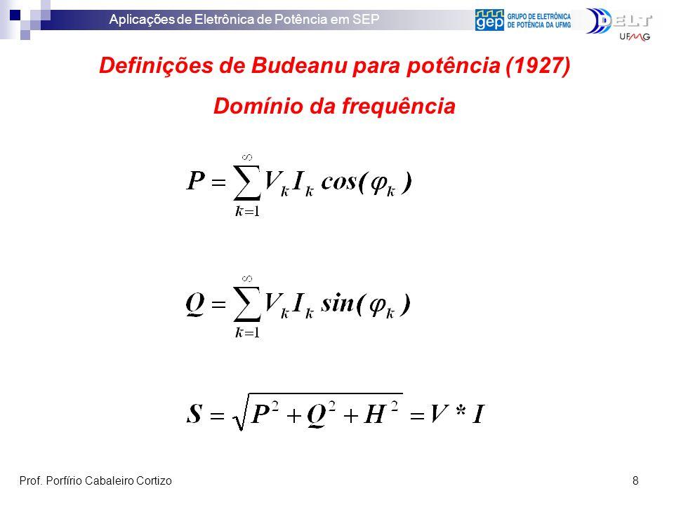 Aplicações de Eletrônica de Potência em SEP Prof. Porfírio Cabaleiro Cortizo 8 Definições de Budeanu para potência (1927) Domínio da frequência