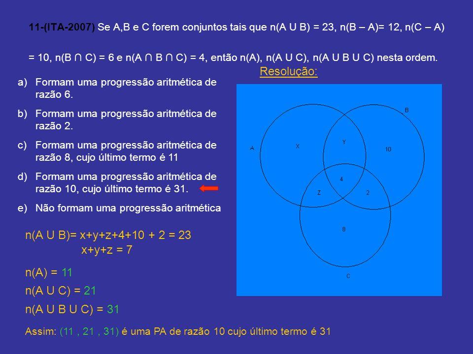 11-(ITA-2007) Se A,B e C forem conjuntos tais que n(A U B) = 23, n(B – A)= 12, n(C – A) = 10, n(B C) = 6 e n(A B C) = 4, então n(A), n(A U C), n(A U B