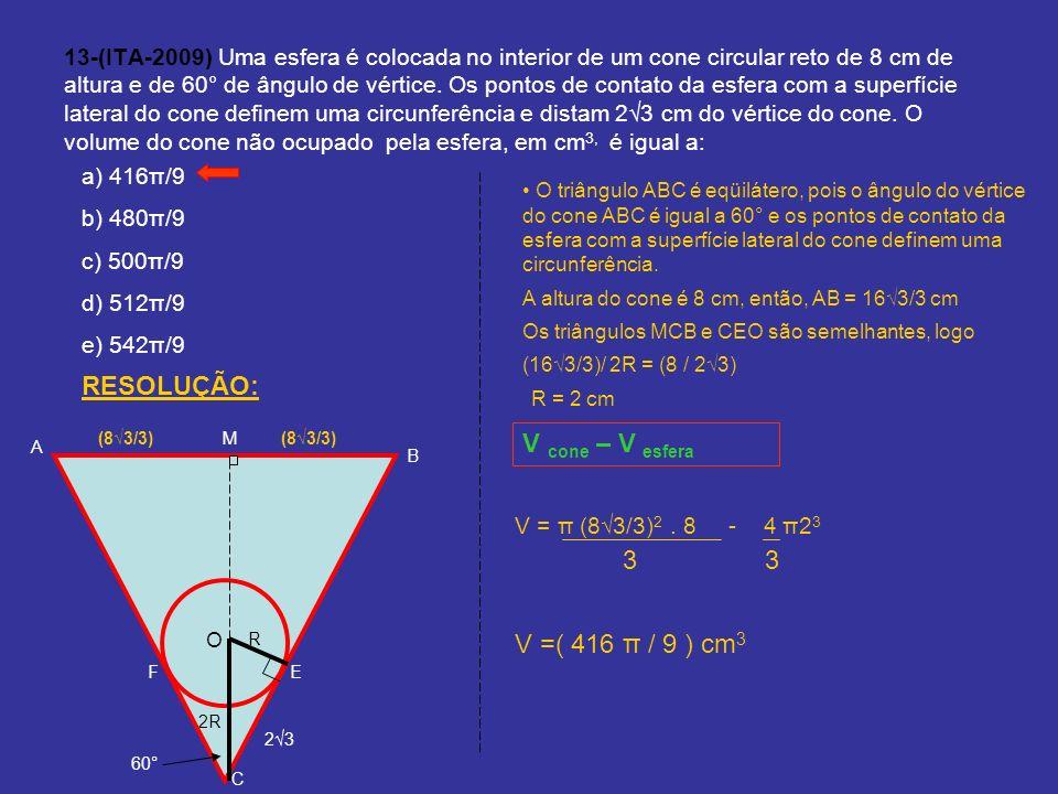 13-(ITA-2009) Uma esfera é colocada no interior de um cone circular reto de 8 cm de altura e de 60° de ângulo de vértice. Os pontos de contato da esfe