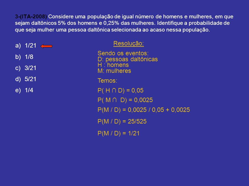 3-(ITA-2008) Considere uma população de igual número de homens e mulheres, em que sejam daltônicos 5% dos homens e 0,25% das mulheres. Identifique a p