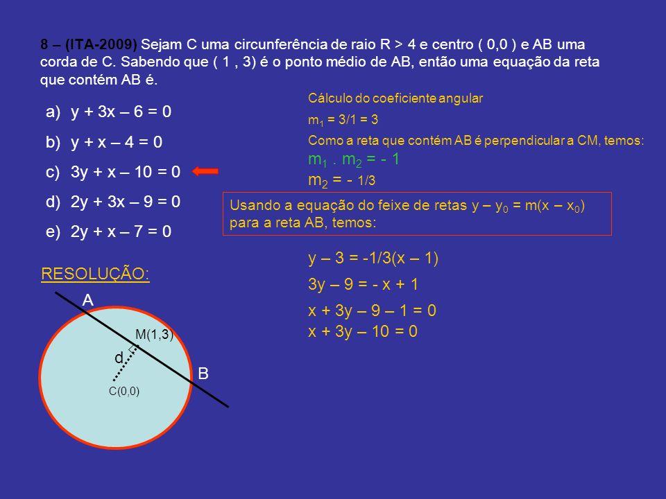 8 – (ITA-2009) Sejam C uma circunferência de raio R > 4 e centro ( 0,0 ) e AB uma corda de C. Sabendo que ( 1, 3) é o ponto médio de AB, então uma equ