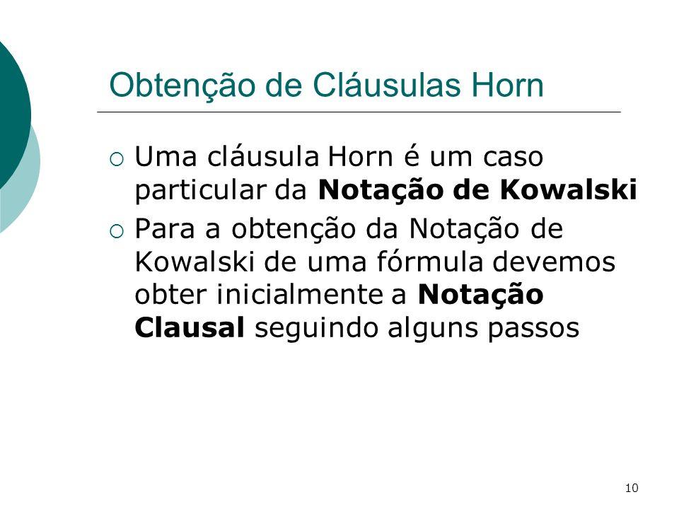 10 Obtenção de Cláusulas Horn Uma cláusula Horn é um caso particular da Notação de Kowalski Para a obtenção da Notação de Kowalski de uma fórmula devemos obter inicialmente a Notação Clausal seguindo alguns passos