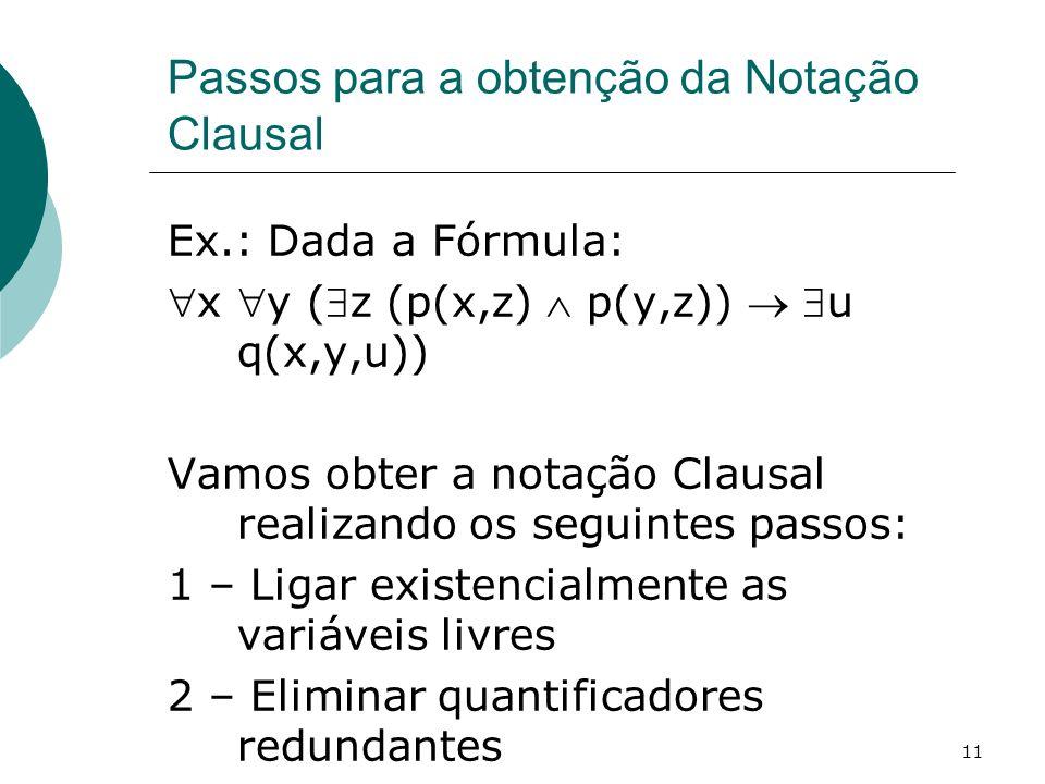 11 Passos para a obtenção da Notação Clausal Ex.: Dada a Fórmula: x y (z (p(x,z) p(y,z)) u q(x,y,u)) Vamos obter a notação Clausal realizando os seguintes passos: 1 – Ligar existencialmente as variáveis livres 2 – Eliminar quantificadores redundantes