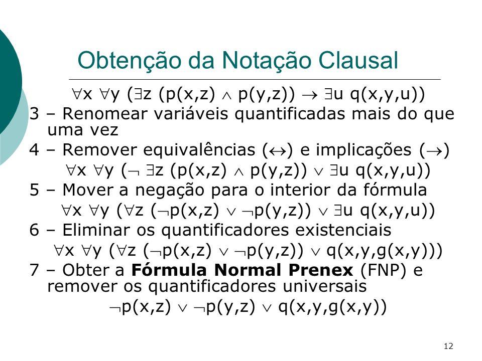 12 Obtenção da Notação Clausal x y (z (p(x,z) p(y,z)) u q(x,y,u)) 3 – Renomear variáveis quantificadas mais do que uma vez 4 – Remover equivalências () e implicações () x y ( z (p(x,z) p(y,z)) u q(x,y,u)) 5 – Mover a negação para o interior da fórmula x y (z (p(x,z) p(y,z)) u q(x,y,u)) 6 – Eliminar os quantificadores existenciais x y (z (p(x,z) p(y,z)) q(x,y,g(x,y))) 7 – Obter a Fórmula Normal Prenex (FNP) e remover os quantificadores universais p(x,z) p(y,z) q(x,y,g(x,y))