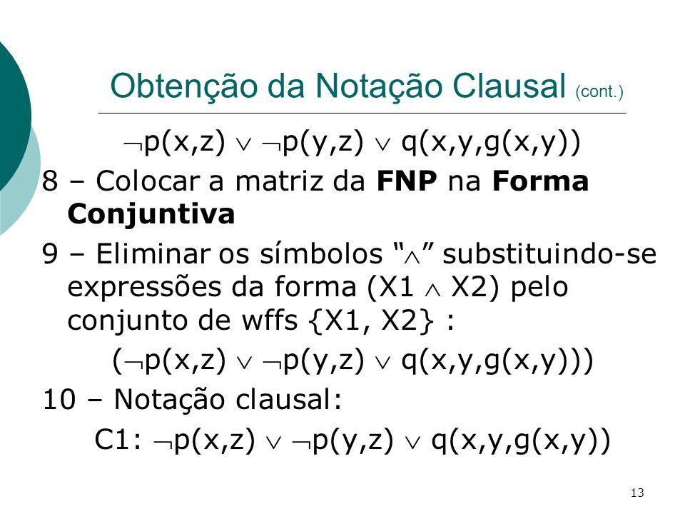 13 Obtenção da Notação Clausal (cont.) p(x,z) p(y,z) q(x,y,g(x,y)) 8 – Colocar a matriz da FNP na Forma Conjuntiva 9 – Eliminar os símbolos substituindo-se expressões da forma (X1 X2) pelo conjunto de wffs {X1, X2} : (p(x,z) p(y,z) q(x,y,g(x,y))) 10 – Notação clausal: C1: p(x,z) p(y,z) q(x,y,g(x,y))