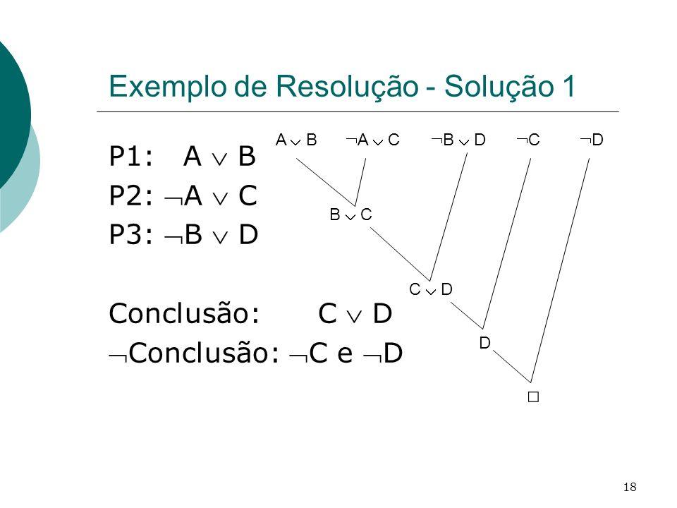 18 Exemplo de Resolução - Solução 1 P1: A B P2: A C P3: B D Conclusão: C D Conclusão: C e D A B A C B C B D C D C D D