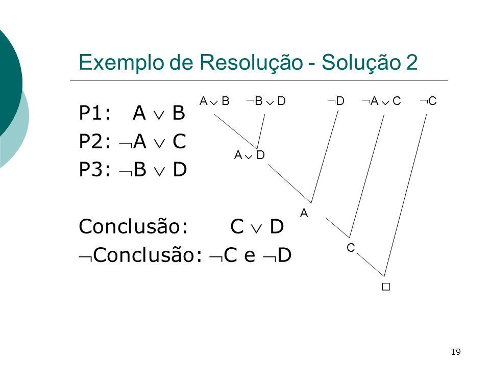 19 Exemplo de Resolução - Solução 2 P1: A B P2: A C P3: B D Conclusão: C D Conclusão: C e D A B A D B D C C D A A C