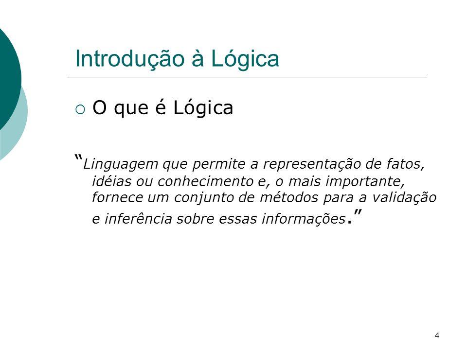 4 Introdução à Lógica O que é Lógica Linguagem que permite a representação de fatos, idéias ou conhecimento e, o mais importante, fornece um conjunto de métodos para a validação e inferência sobre essas informações.