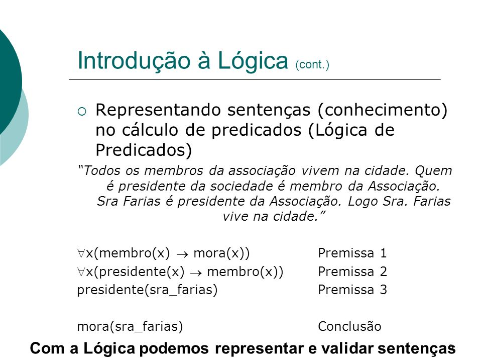 6 Introdução à Lógica (cont.) Representando sentenças (conhecimento) no cálculo de predicados (Lógica de Predicados) Todos os membros da associação vivem na cidade.