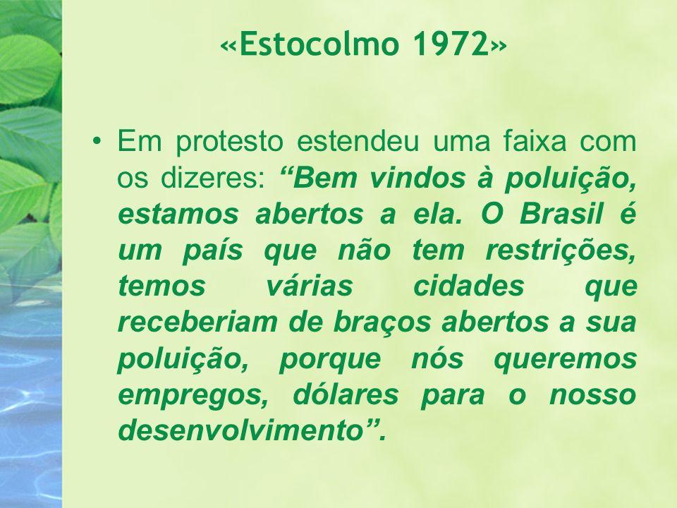 «Estocolmo 1972» Em protesto estendeu uma faixa com os dizeres: Bem vindos à poluição, estamos abertos a ela. O Brasil é um país que não tem restriçõe