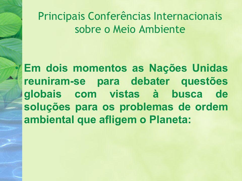 Principais Conferências Internacionais sobre o Meio Ambiente Em dois momentos as Nações Unidas reuniram-se para debater questões globais com vistas à