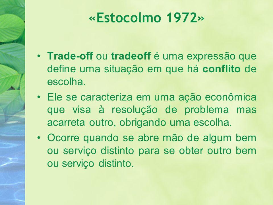 «Estocolmo 1972» Trade-off ou tradeoff é uma expressão que define uma situação em que há conflito de escolha. Ele se caracteriza em uma ação econômica