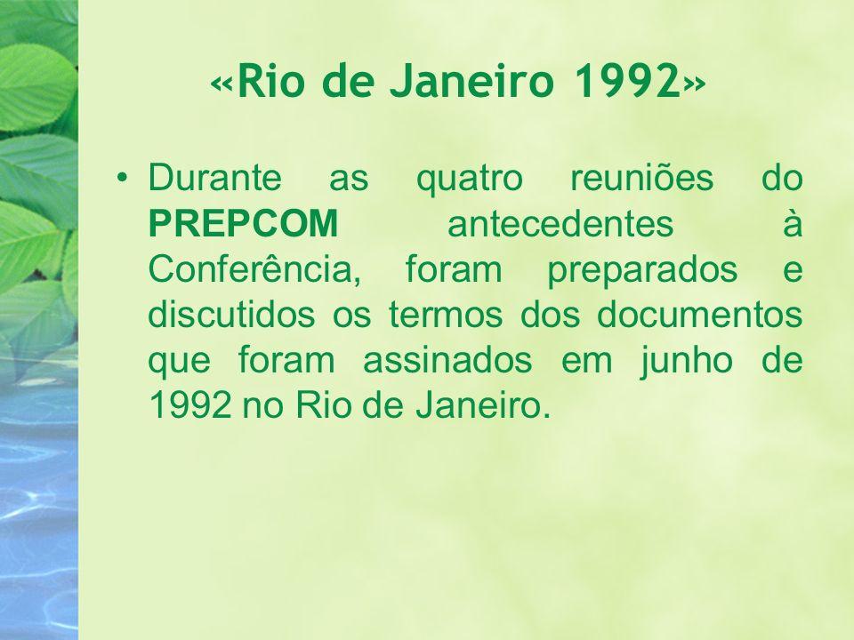 «Rio de Janeiro 1992» Durante as quatro reuniões do PREPCOM antecedentes à Conferência, foram preparados e discutidos os termos dos documentos que for