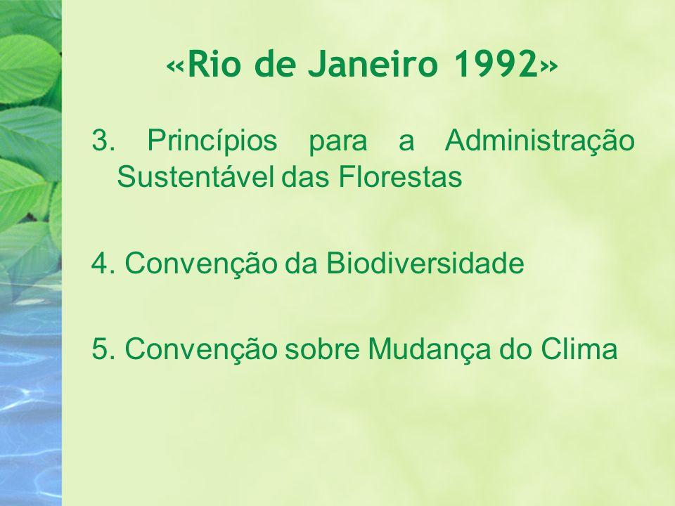 «Rio de Janeiro 1992» 3. Princípios para a Administração Sustentável das Florestas 4. Convenção da Biodiversidade 5. Convenção sobre Mudança do Clima