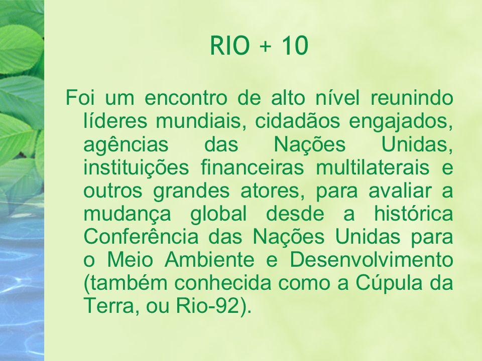 RIO + 10 Foi um encontro de alto nível reunindo líderes mundiais, cidadãos engajados, agências das Nações Unidas, instituições financeiras multilatera