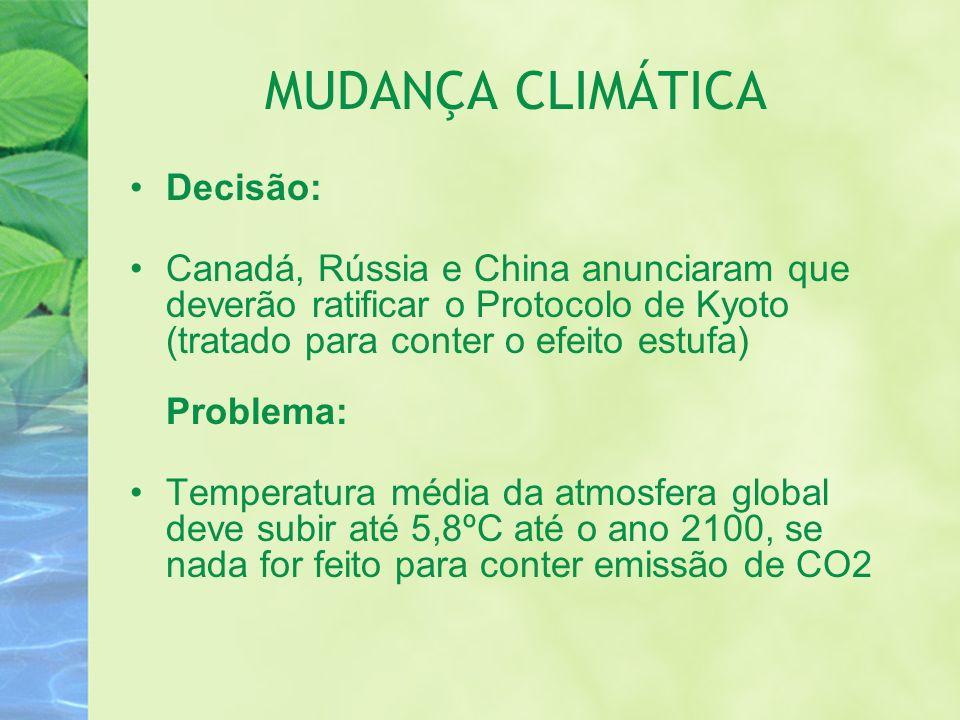 MUDANÇA CLIMÁTICA Decisão: Canadá, Rússia e China anunciaram que deverão ratificar o Protocolo de Kyoto (tratado para conter o efeito estufa) Problema