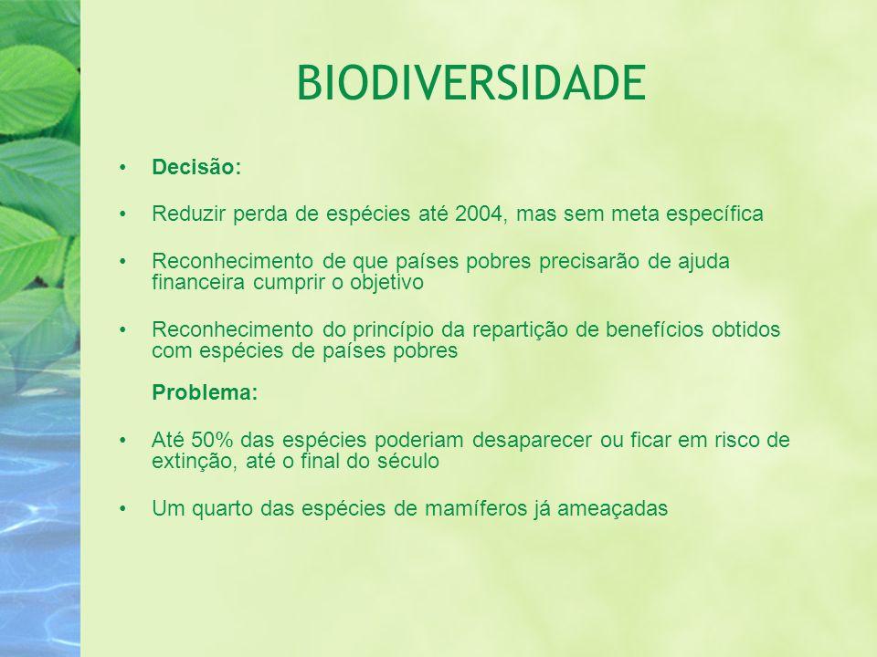 BIODIVERSIDADE Decisão: Reduzir perda de espécies até 2004, mas sem meta específica Reconhecimento de que países pobres precisarão de ajuda financeira