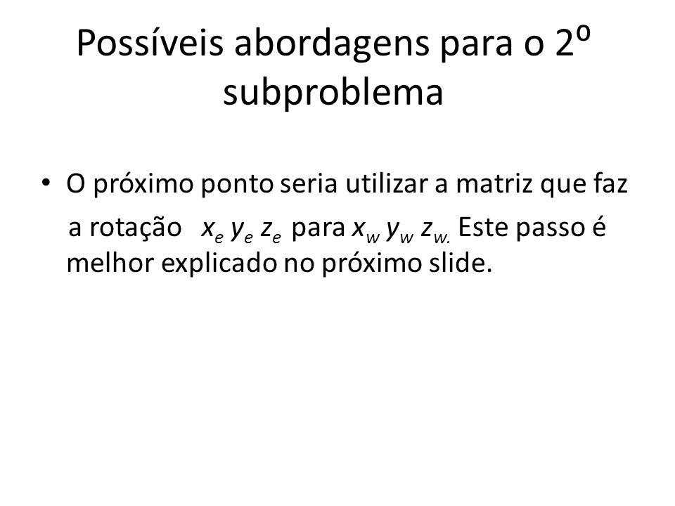Possíveis abordagens para o 2 subproblema O próximo ponto seria utilizar a matriz que faz a rotação x e y e z e para x w y w z w. Este passo é melhor