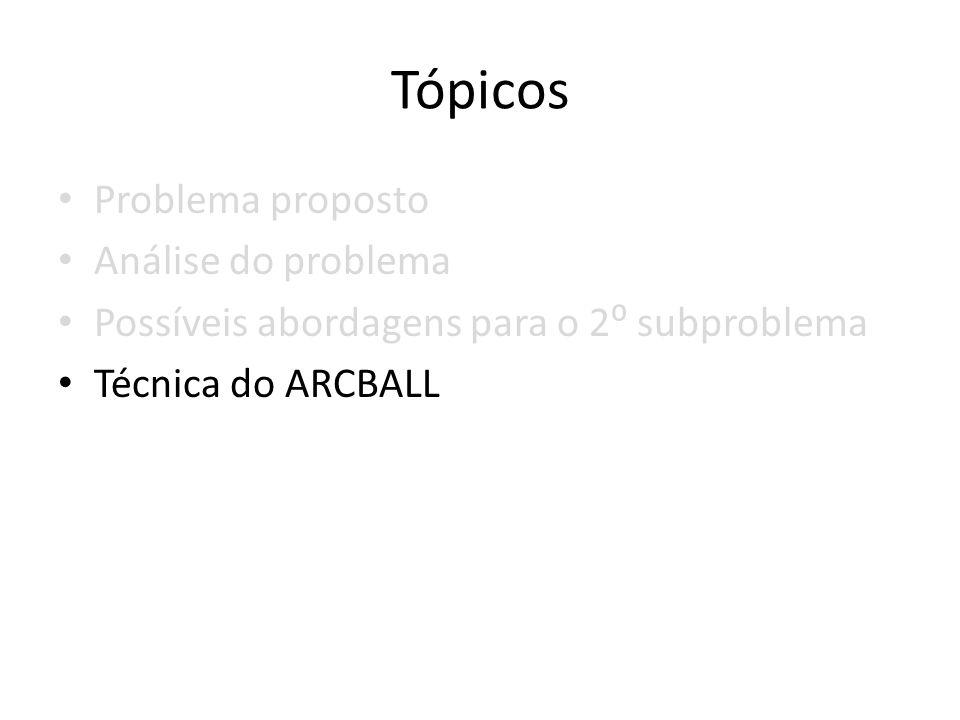 Tópicos Problema proposto Análise do problema Possíveis abordagens para o 2 subproblema Técnica do ARCBALL