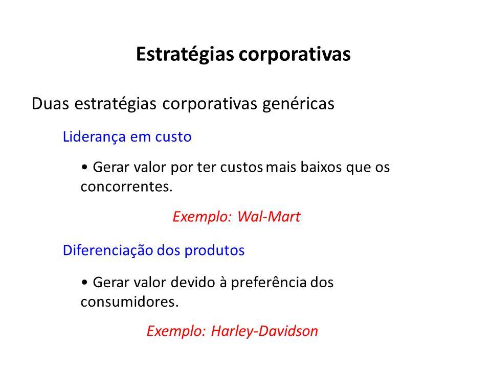 Estratégias corporativas Duas estratégias corporativas genéricas Liderança em custo Gerar valor por ter custos mais baixos que os concorrentes. Difere