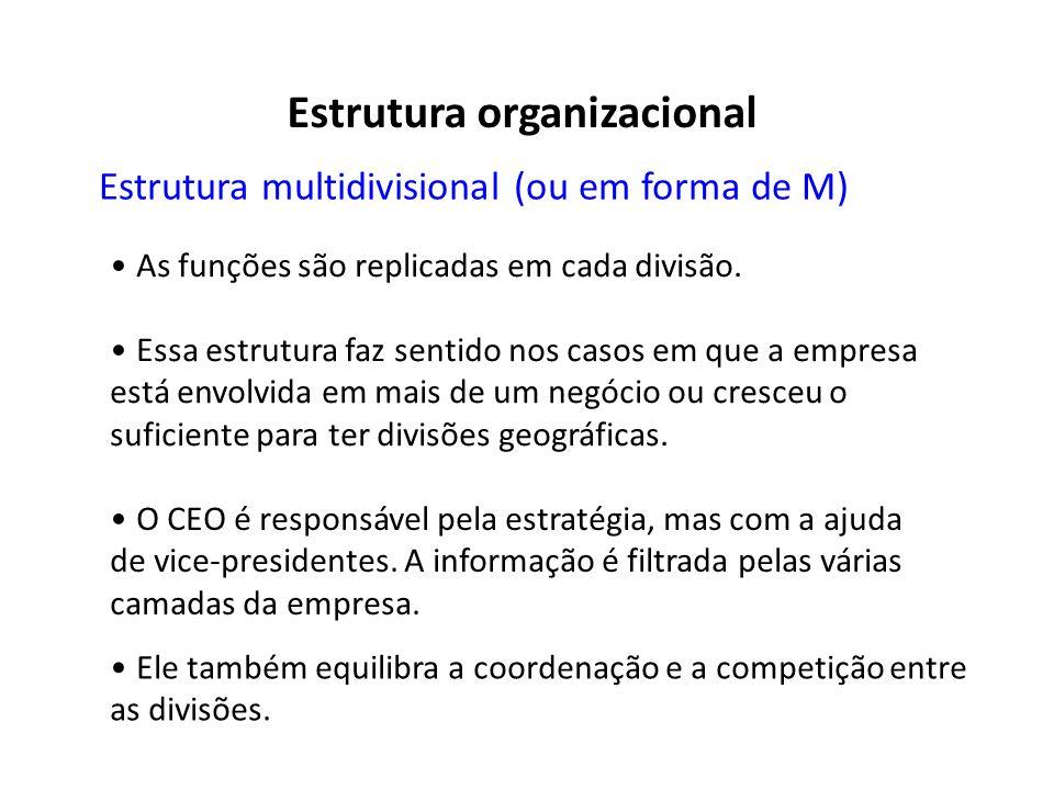 Estrutura multidivisional (ou em forma de M) As funções são replicadas em cada divisão. Essa estrutura faz sentido nos casos em que a empresa está env