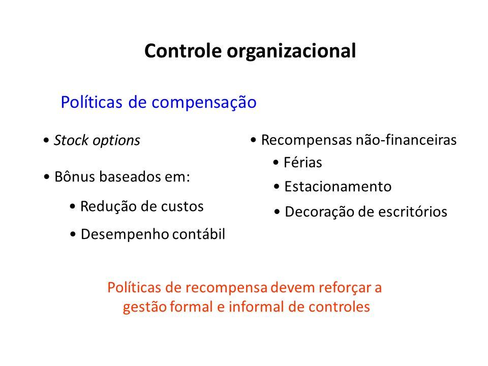 Políticas de compensação Stock options Bônus baseados em: Redução de custos Desempenho contábil Recompensas não-financeiras Férias Estacionamento Polí