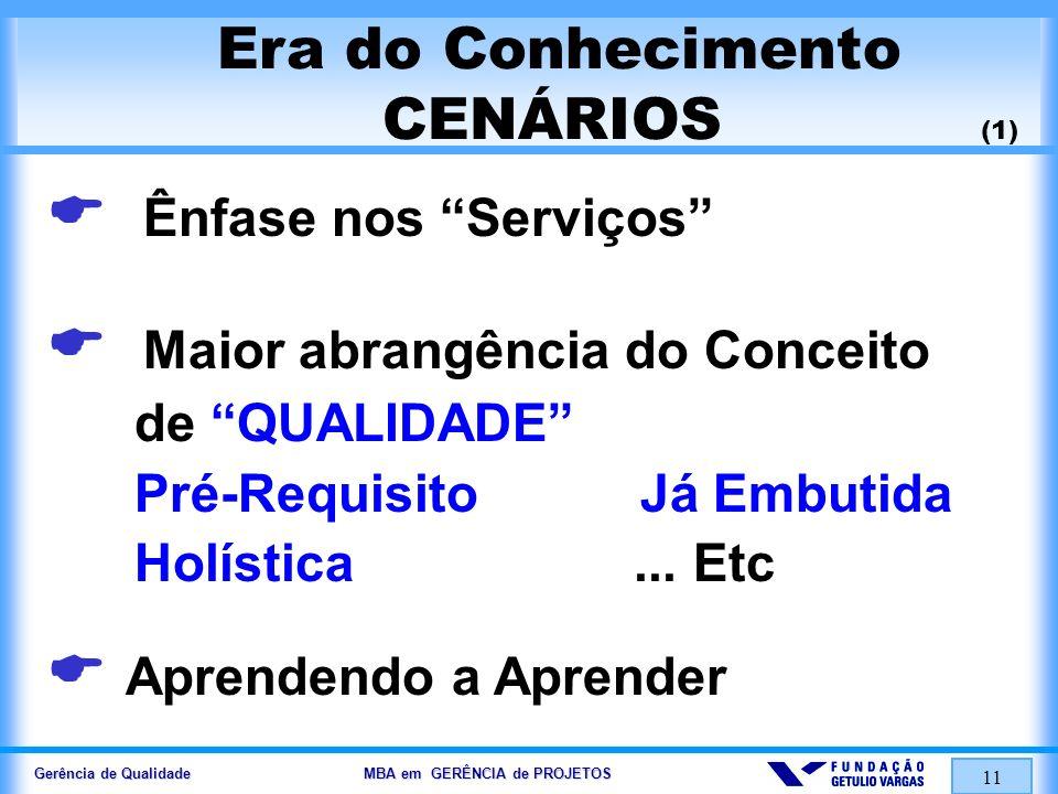 Gerência de Qualidade MBA em GERÊNCIA de PROJETOS 11 Era do Conhecimento CENÁRIOS (1) Ênfase nos Serviços Maior abrangência do Conceito de QUALIDADE P