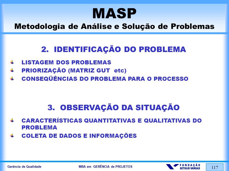 Gerência de Qualidade MBA em GERÊNCIA de PROJETOS 117 MASP Metodologia de Análise e Solução de Problemas 2. IDENTIFICAÇÃO DO PROBLEMA LISTAGEM DOS PRO