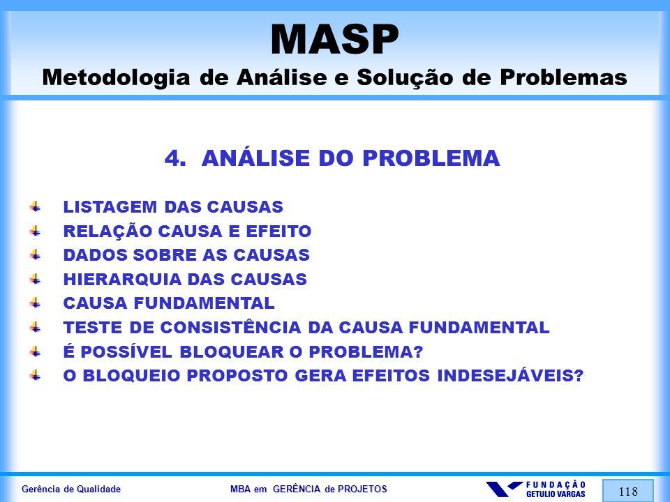 Gerência de Qualidade MBA em GERÊNCIA de PROJETOS 118 MASP Metodologia de Análise e Solução de Problemas 4. ANÁLISE DO PROBLEMA LISTAGEM DAS CAUSAS RE